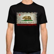 California Republic state flag Vintage Mens Fitted Tee Black MEDIUM