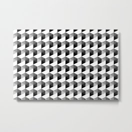 Trippy Gray Scale Hexagon Pattern Cubism - Digital Illustration Artwork Metal Print