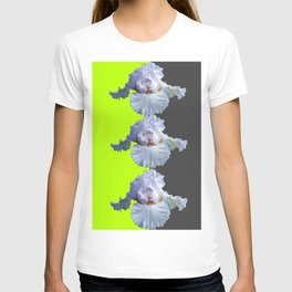 MODERN WHITE IRIS DIVIDED CHARTREUSE & GREY ART T-shirt
