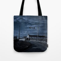 return Tote Bags featuring The Return by 'Stuffy'