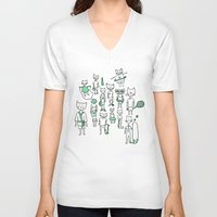 sports V-neck T-shirts featuring les sports by Estelle F