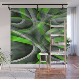 Eighties Vibes Lime and Grey Layered Curve Pattern Wall Mural