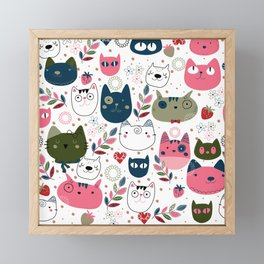 Cute Hand-drawn Cats Pattern Framed Mini Art Print