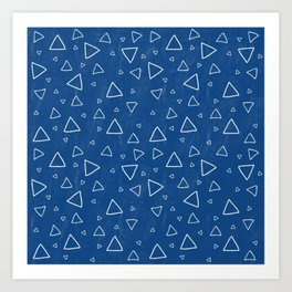 Cyanotype Triangle Pattern Art Print