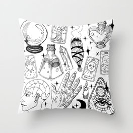 Fortune Teller Starter Pack Black and White Throw Pillow