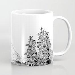 Mount Hood Oregon Black & White Sketch Coffee Mug