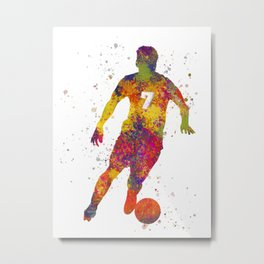 Soccer player isolated 02 in watercolor Metal Print
