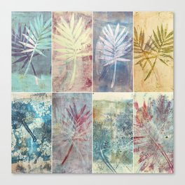 Monoprint collage of leaves Canvas Print