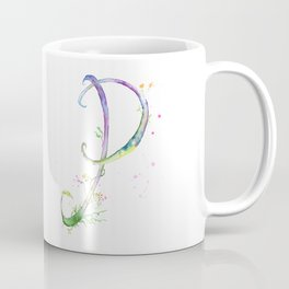 Letter P watercolor - Watercolor Monogram - Watercolor typography - Floral lettering Coffee Mug