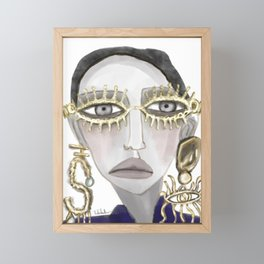 girl in gold glasses Framed Mini Art Print