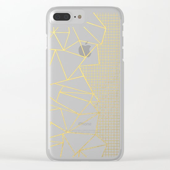 Ab Outline Grid Black and Gold Clear iPhone Case