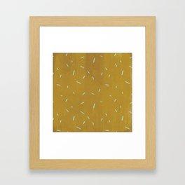 Vintage chic yellow mustard blue watercolor brushstrokes Framed Art Print