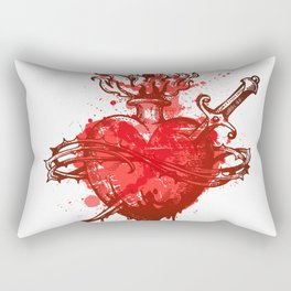 heart in flames wounded by dagger Rectangular Pillow