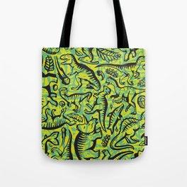 Neon Dinos Tote Bag