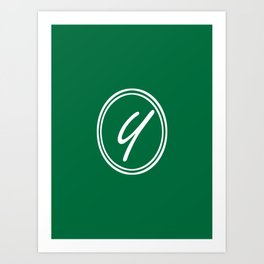 Monogram - Letter Y on Cadmium Green Background Art Print