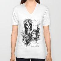 dia de los muertos V-neck T-shirts featuring Dia de los Muertos by Khaedin