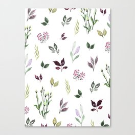 Tiny watercolor leaves Canvas Print
