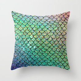 Colorful Glitter Mermaid Scales II Throw Pillow