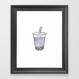 Holographic Bubble Tea Framed Art Print