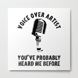 Voice Over Artist Shirt Vintage Microphone Voice Actor Gift Metal Print