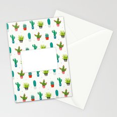 Colorful cactus succulent plant flower nature pattern Stationery Cards