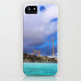 Construction at the Blue Lagoon Geothermal Spa in Iceland iPhone Case