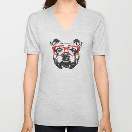 Portrait of English Bulldog with glasses. Unisex V-Neck