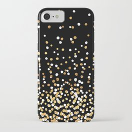 Floating Dots - White and Gold on Black iPhone Case