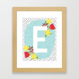 E botanical monogram. Letter initial with tulips and daffodils poster Framed Art Print