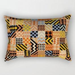 African Faux Quilt - Rust Black Rectangular Pillow
