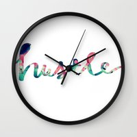 hustle Wall Clocks featuring Hustle by courtneeeee
