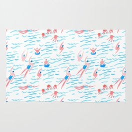 swimmers in the sea pattern Rug
