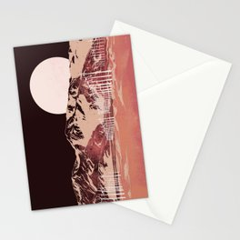 Full Moon Over the Palm Springs Windmills — Pink Night Stationery Cards