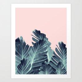 Blush Navy Blue Banana Leaves Dream #1 #tropical #decor #art #society6 Art Print