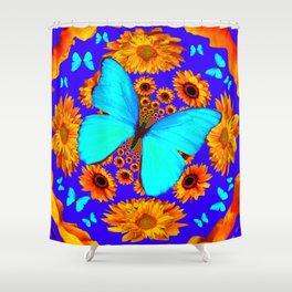 Turquoise Butterflies Golden Sunflowers Blue Abstract Shower Curtain