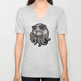 Octopus with sunglasses Unisex V-Neck