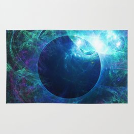 Abstract colorful shiny print graphic with planet space Rug