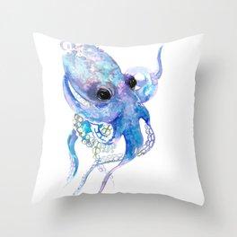Octopus, sky blue, royal blue sea world underwater scene, beach house art Throw Pillow