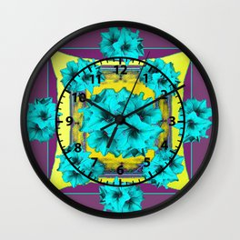 Puce, Turquoise, Mustard Color Geometric Floral Abstract Wall Clock