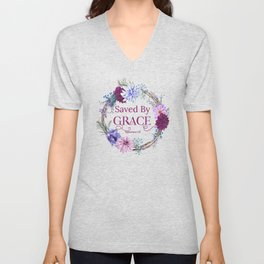 Saved By Grace Ephesians 2 8 Bible Quote Unisex V-Neck