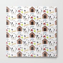 French Bulldog White Half Drop Repeat Pattern Metal Print