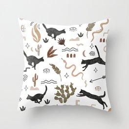 Black cats of the desert Throw Pillow