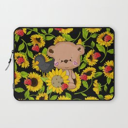 Sunflowers Bear And Black Crow Ladybugs Laptop Sleeve