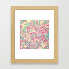 Pink Turquoise Girly Chic Floral Paisley Pattern Framed Art Print