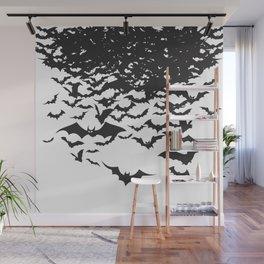 Halloween Bat Black and White Pattern Wall Mural