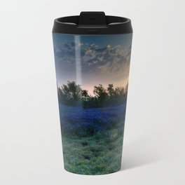 Texas Bluebonnets by the Pond at Sunrise Travel Mug