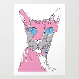 Blue Eyed Hairless Cat Art Print