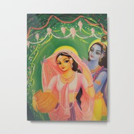 The Divine Couple - Radha and Krishna Metal Print