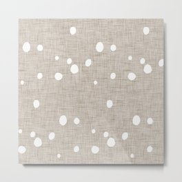 Modern Farm House Polka Dots Beige Metal Print