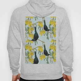 Tuis in the Kowhai Flowers Hoody